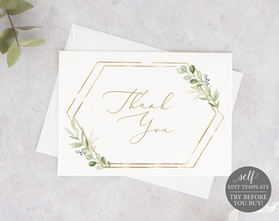 Thank You Card Template, Greenery Hexagonal, TRY BEFORE You Buy, Editable & Printable Instant Download, Templett