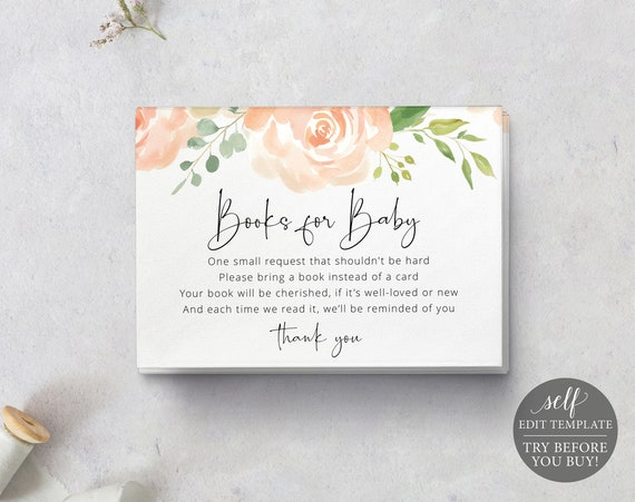 Books for Baby Card Template, Peach Floral, Editable Instant Download, TRY BEFORE You BUY