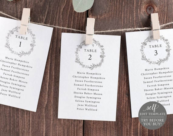 Seating Chart Template, Botanical Floral Cards, TRY BEFORE You BUY, Editable Instant Download