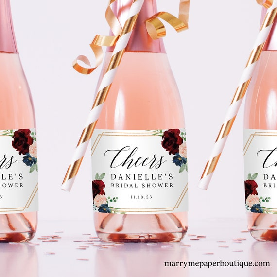 Mini Champagne Bottle Label Template, Burgundy Hexagonal, Demo Available, Printable Editable Instant Download