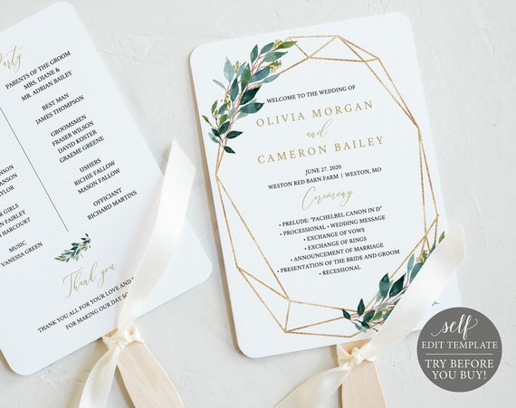 Wedding Program Fan Template, Greenery Geometric, TRY BEFORE You BUY, Fully Editable Instant Download