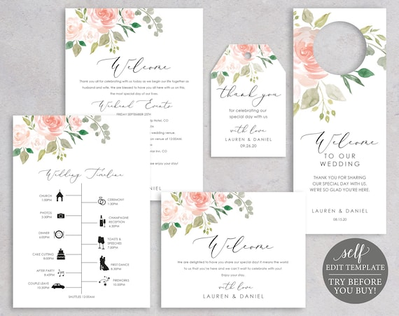 Wedding Guest Welcome Bundle Templates, TRY BEFORE You BUY, Welcome Card, Timeline, Door Hanger, Label, 100% Editable, Pink & Blush Floral