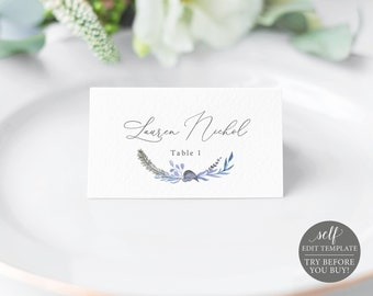 Seating Card Template, Fully Editable Instant Download, TRY BEFORE You BUY, Lavender Blue