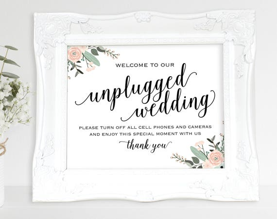Floral Unplugged Wedding Sign, Turn off Cell Phone, Camera, Wedding Sign, Wedding Printable, Unplugged Sign, PDF Instant Download, MM01-6