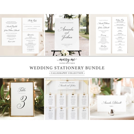 Wedding Template Bundle, Traditional Wedding, Calligraphy, Printable Template Kit, Wedding Stationery Bundle, Templett INSTANT Download