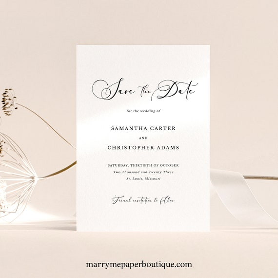 Calligraphy Save the Date Card Template, Classic Wedding, Printable, Save Our Date, Templett INSTANT Download, Fully Editable