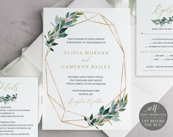 TRY BEFORE You Buy! Invitation Set Template, 100% Editable Wedding Invitation Set Printable, Instant Download