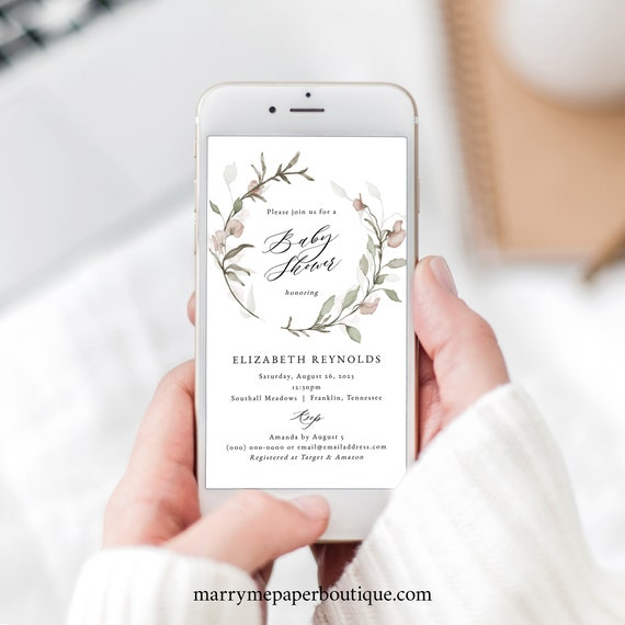Blush Floral Baby Shower Text Invitation Template, Greenery, Electronic Shower Text Invite, Templett Instant Download, Editable