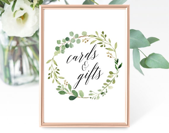 Greenery Wedding Cards and Gifts Sign Template, Printable Cards and Gifts Sign, Garden Cards and Gifts Sign, PDF Instant Download, MM07-1