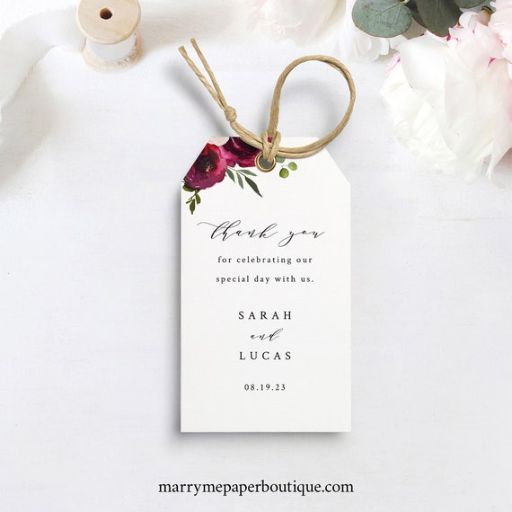 Burgundy Floral Favor Tag Template, Wedding Gift Tag Printable, Templett Editable, Instant Download, Try Before Purchase