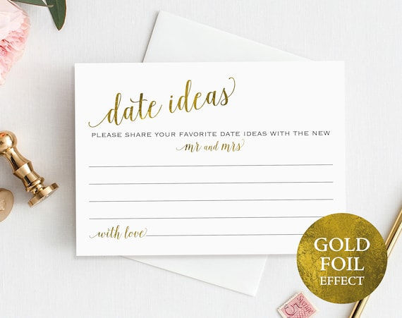 Gold Date Jar Card, Date Ideas, Date Jar, Wedding Advice Card, Date Advice, Wedding Printable, Mr and Mrs, PDF Instant Download, MM01-3