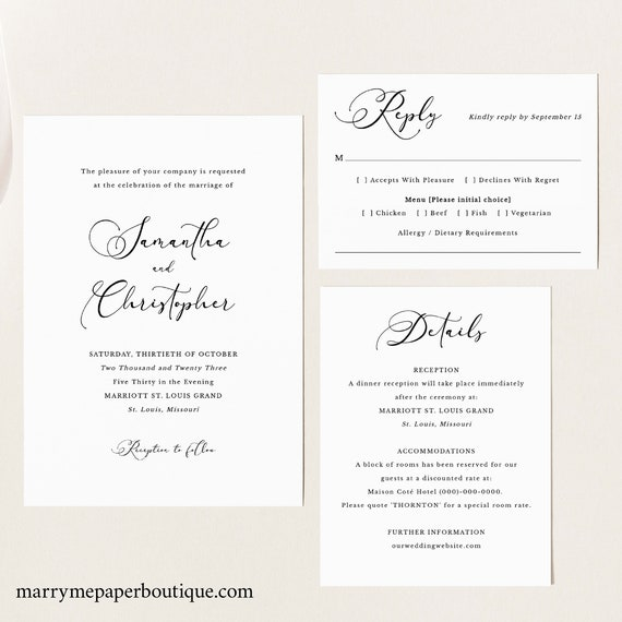 Calligraphy Wedding Invitation Template Set, Classic Wedding, Printable, Invitation Set, Editable, Templett INSTANT Download, Details, RSVP