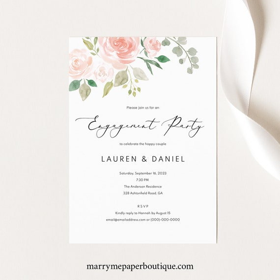 Engagement Party Invite Template, TRY BEFORE You BUY,  Editable Instant Download, Blush Pink Floral