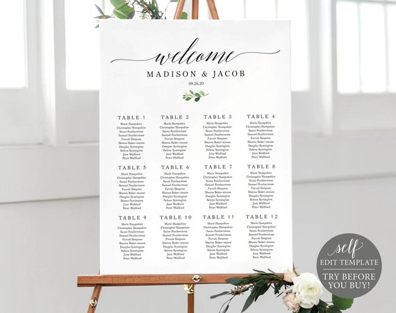 Seating Plan Template, TRY BEFORE You BUY, 100% Editable Greenery Wedding Poster Printable, Instant Download
