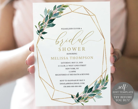 TRY BEFORE You BUY! Bridal Shower Invitation Template, 100% Editable Invite Template, Instant Download, Geometric, Gold, Greenery