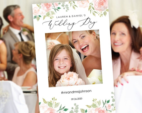 Floral Wedding Photo Booth Frame Template Wedding Selfie Etsy