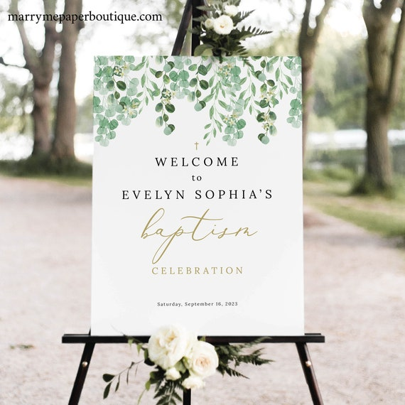 Baptism Welcome Sign Template, Garden Greenery Baptism Sign Printable, Templett Editable, Instant Download