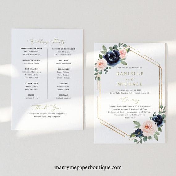 Wedding Program Template, Navy & Blush Floral, Wedding Ceremony Program, Printable, Editable, Order of Service, Templett INSTANT Download