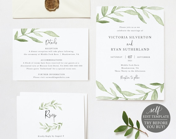 Wedding Invitation Set Templates, Greenery Leaves, Fully Editable Instant Download, TRY BEFORE You BUY