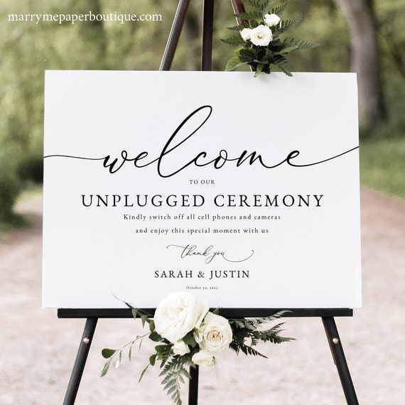 Classic Unplugged Ceremony Sign Template, Elegant Wedding Sign, Printable, Fully Editable, Templett, INSTANT Download