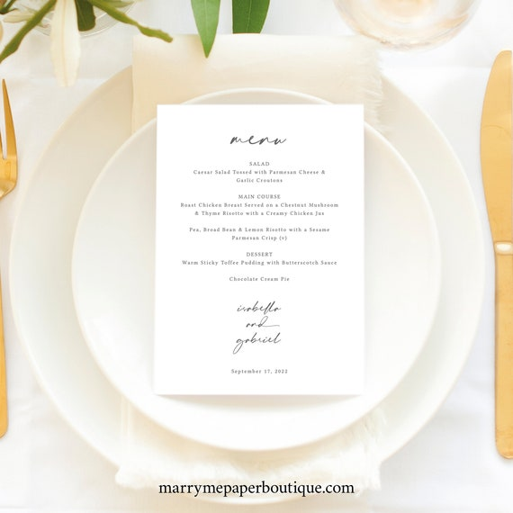 Menu Template, 5x7, Handwritten Style Font, Instant Download, Templett, Editable & Printable, Try Before You Buy