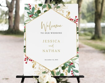 Winter Wedding Welcome Sign Template, Christmas Wedding Sign, Printable, INSTANT Download, Templett, Editable