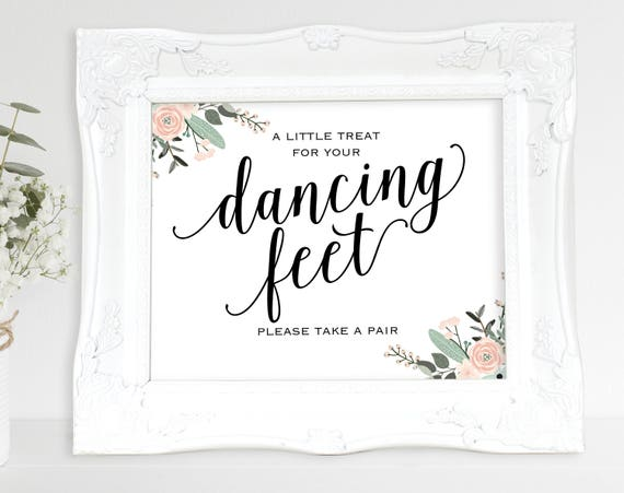 Floral Dancing Feet Sign, Dancing Shoes Sign, Please Take a Pair, Wedding Printable, Wedding Sign, PDF Instant Download, MM01-6