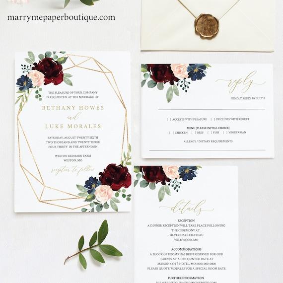 Wedding Invitation Templates, Printable Editable Instant Download, Burgundy Geometric, Demo Available