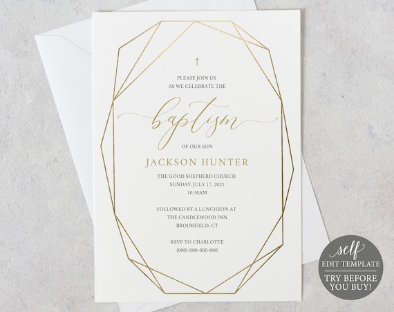 Baptism Invitation Template, Gold Geometric, TRY BEFORE You BUY, 100% Editable Instant Download