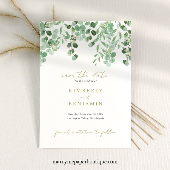 Save the Date Card Template, Garden Greenery, Printable Save Our Date, INSTANT Download, Templett, Editable