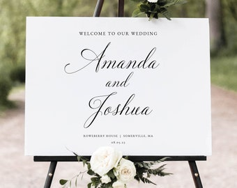 Wedding Welcome Sign Template, Traditional Wedding Calligraphy, Printable Welcome To Our Wedding Sign, Editable, Templett INSTANT Download