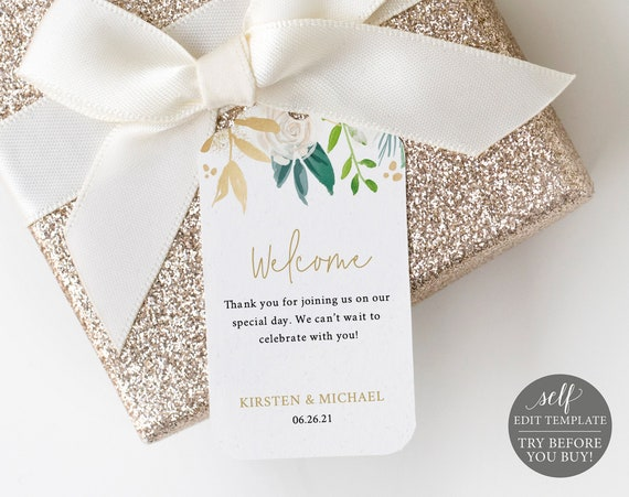 Wedding Welcome Tag Template, TRY BEFORE You BUY, White & Gold Floral, 100% Editable Instant Download