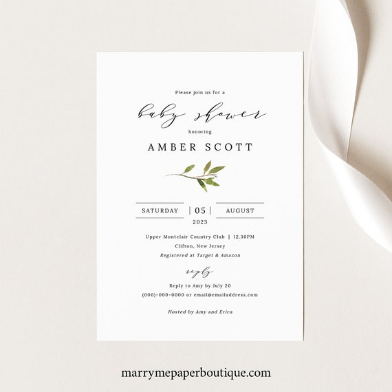 Greenery Baby Shower Invitation Template, Green Leaf Baby Shower, Invite Printable, Instant Download, Templett, Editable