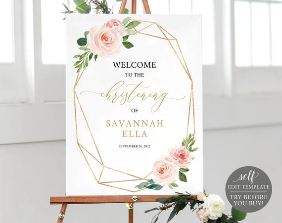Christening Welcome Sign Template, Blush Geometric, Printable & Editable Instant Download, Demo Available