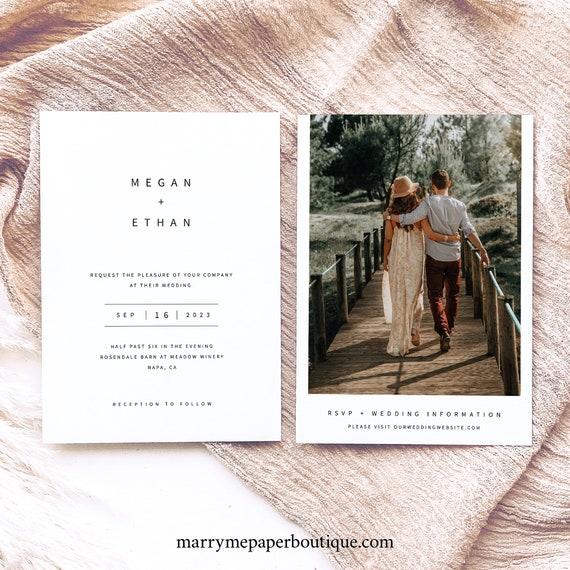 Wedding Invitation Template, Modern Minimalist, Double Sided Wedding Invitation, Printable, Editable, Two Page, Templett INSTANT Download