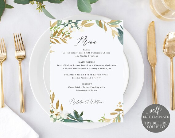 Wedding Menu Template, TRY BEFORE You BUY, 100% Editable Instant Download, Greenery & Gold