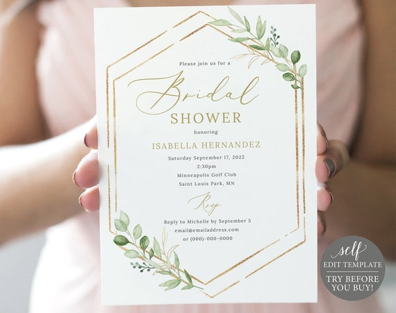 Bridal Shower Invitation Template, Greenery Hexagonal, Editable & Printable Instant Download, Templett, TRY Before You Buy