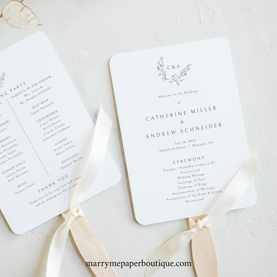 Wedding Program Fan Template, Templett Instant Download, Demo Available, Editable & Printable, Elegant Monogram