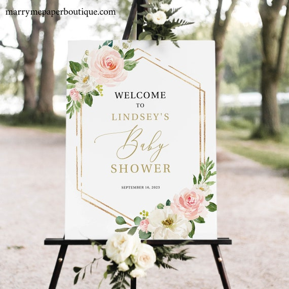 Baby Shower Welcome Sign Template, TRY BEFORE You BUY, Editable Instant Download, Blush Floral Hexagonal