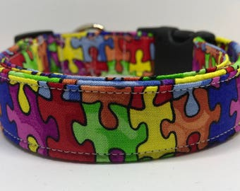 Dog Collar - adjustable side release or martingale - puzzle piece autism awareness