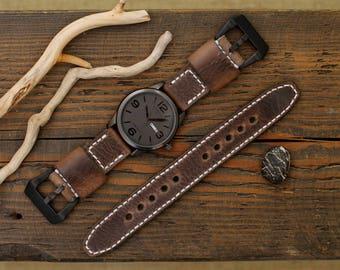 Watch Strap, Handmade Leather Watch Strap 20, 24, 26 mm. , Leather Watch Band, Genuine Italian leather premium.