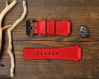 Watch Strap, Handmade Leather Watch Strap 20, 22, 24, 26 mm. , Leather Watch Band, Genuine Italian leather premium.