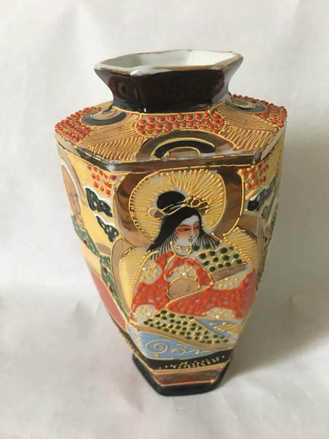 Antique Satsuma Vase Hand Painted Stamped Vintage Satsuma Etsy