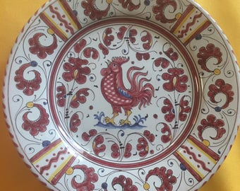 Italian majolica Grazia Deruta pottery wall art decorated with a red rooster // hand painted
