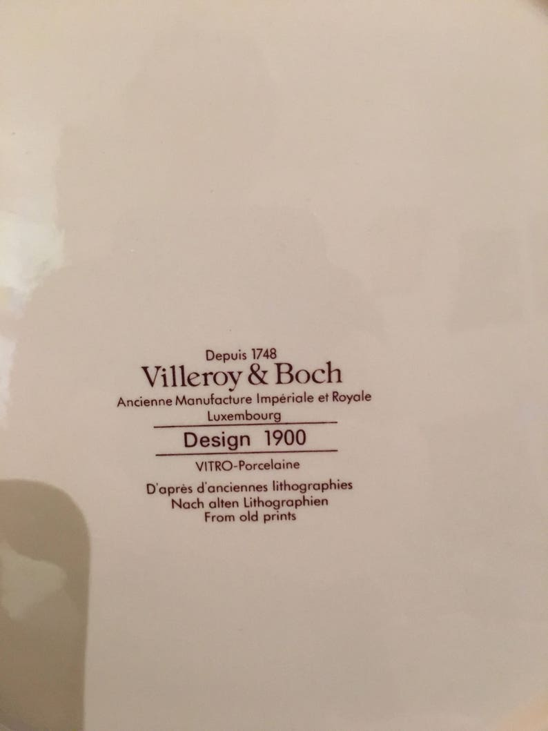 by VILLEROY /& BOCH old print from circa 1900 Cabinet plate Plate No.4 Demi Deuil Designed