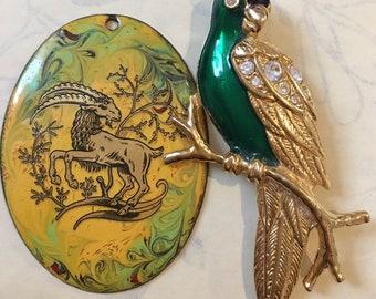 Vintage enamelled gold plated Parrot brooch & enamelled pendant