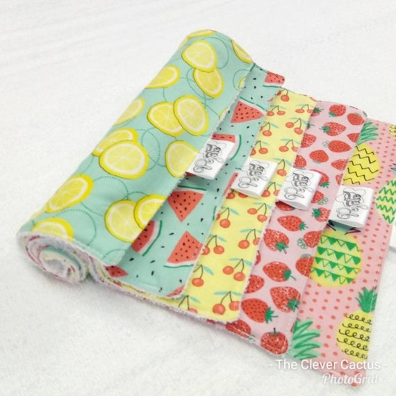 luxury-bamboo-mixed-summer-fruit-salad-fabric-washable-kitchen-roll-unpaper-towel by etsy