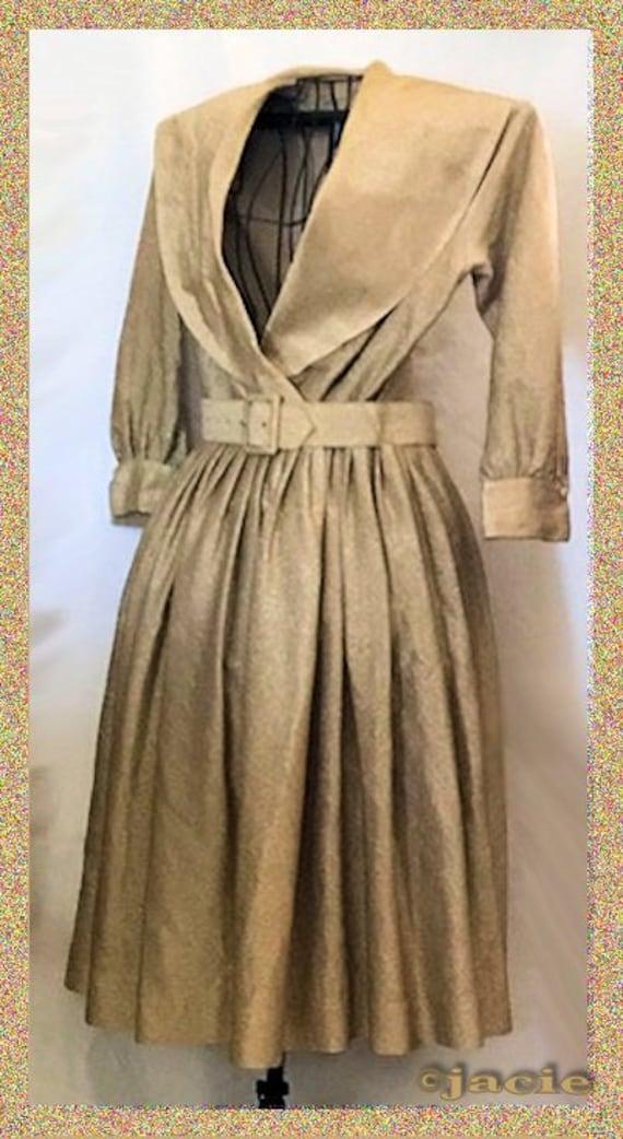 Vintage 1960's Gold Shirtwaist Dress