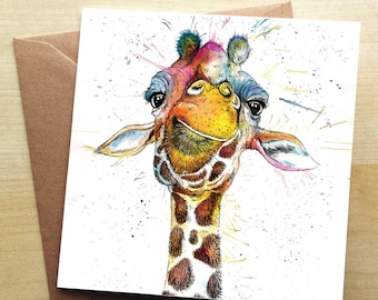 Rainbow Giraffe Greetings Card by Katherine Williams   Colourful Giraffe Greetings Card    Giraffe Card    Greetings Card   CODE: KW37G