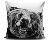 Charcoal Grizzly Bear Cushion by Bex Williams Bear Vegan Pillow Wild Bear Cushion Cover Awesome Bear Cushion Decor Bear Gift
